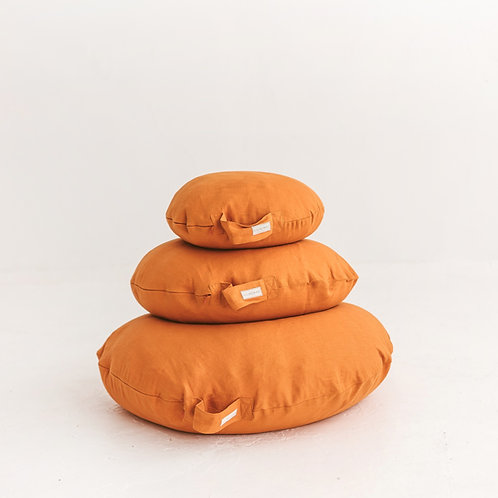 Orange Yoga Pillows - Round Meditation Cushion - Relaxing Floor Pillow with Washable linen Cover