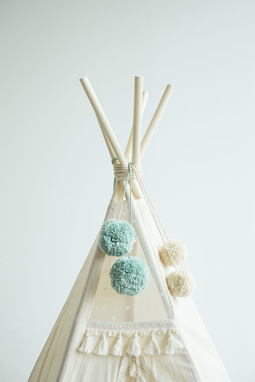 Teepee Pom Poms in Mint, Turquoise
