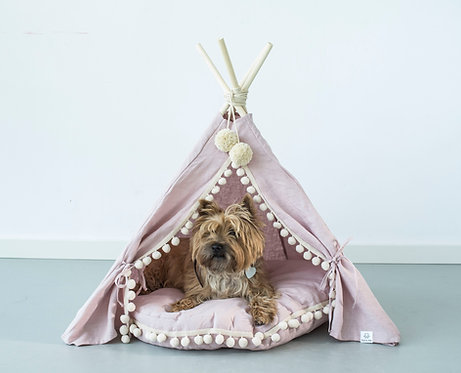 Dog Teepee & Cat Teepee from 100% Linen in Pink