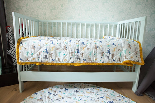 Baby Bedspread from 100% Cotton & Golden Fringes