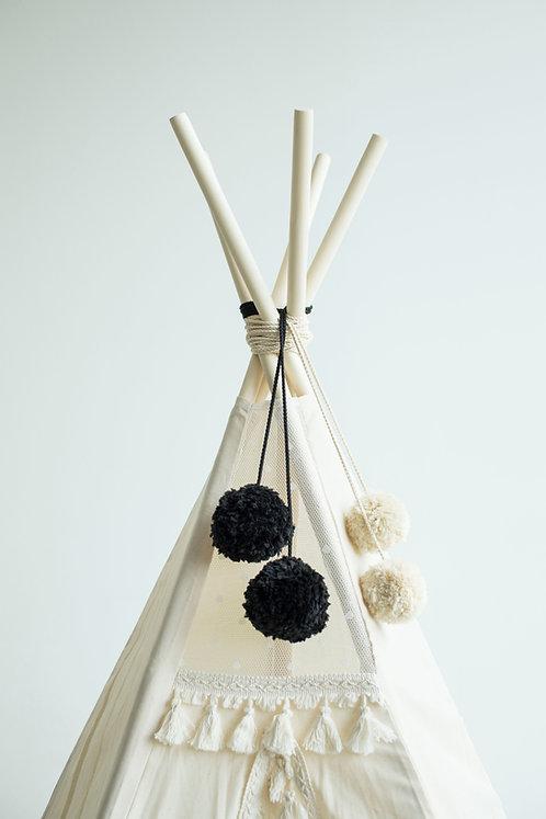 Black and Grey Teepee Pom-Poms