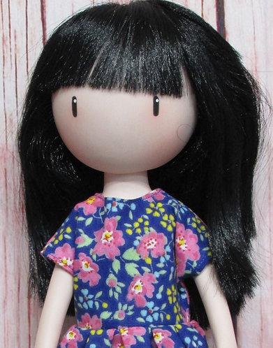 Paola Reina, Santoro Gorjuss doll 32cm: Blue and Pink Flowers Dress and Bag