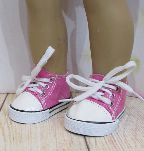 """Shoes for 18"""" dolls: Deep Rose Pink Trainers with white trim"""