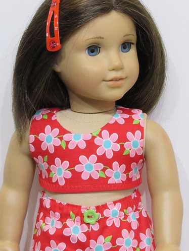 American Girl, Our Generation doll: Red & Pink Flower Beach Set
