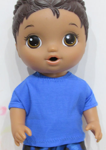 """12"""" Baby Alive boy doll: Blue Top and Racing Flames Trousers"""