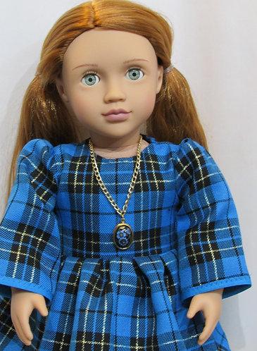 American Girl, Our Generation: Blue Tartan Dress, flower necklace
