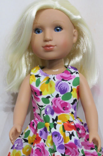 14.5 inch Glitter Girl or Wellie Wishers: Summer Flowers Dress,