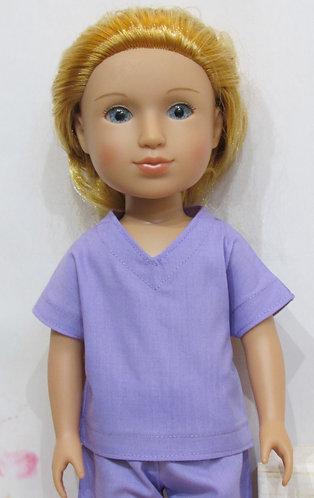 14.5 inch Glitter Girl or Wellie Wishers: Lavender Scrubs, rainbow bag