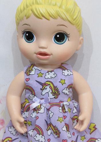 "12"" Baby Alive doll: Lavender Unicorns Dress, matching panties"