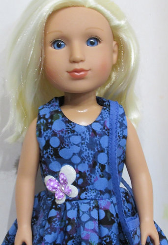 Glitter Girl or Wellie Wishers: Blue Bubbles Dress,  shoulder bag