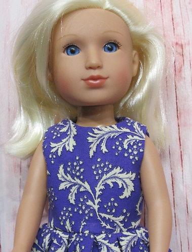 Glitter Girl or Wellie Wishers: Purple with Cream Leaves Dress, bag