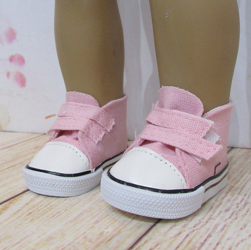 "Shoes for 18"" dolls: Pale Pink Velcro Trainers"