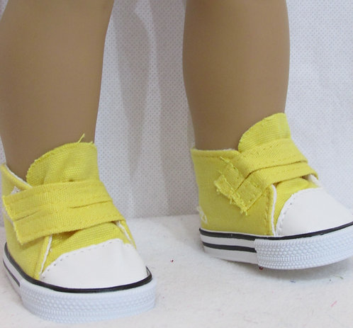 """Shoes for 18"""" dolls: Yellow Velcro Trainers with white trim"""