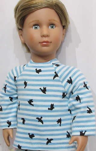 AG, OG Boy: Pyjamas, blue stripe, warm pjs