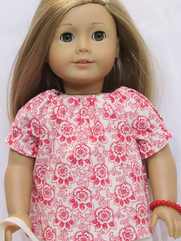 American Girl or Our Generation doll: Red and Cream Top and Trousers