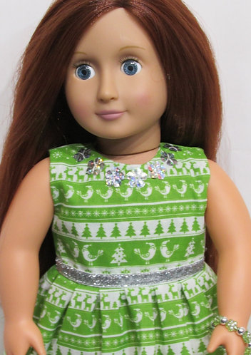 American Girl, Our Generation:  Christmas Green & White Nordic Dress set