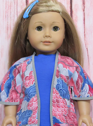 American Girl, Our Generation:  Wave Kimono Jacket, Shorts, Blue Top
