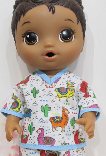"12"" Baby Alive boy doll: Pyjamas, bright llamas pjs"