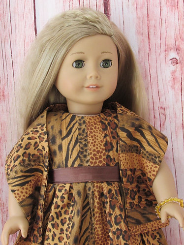 American Girl, Our Generation:  Animal Print Dress Set with Wrap