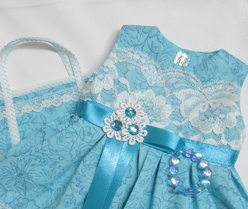 American Girl, Our Generation:  Aqua & Lace Party Dress set
