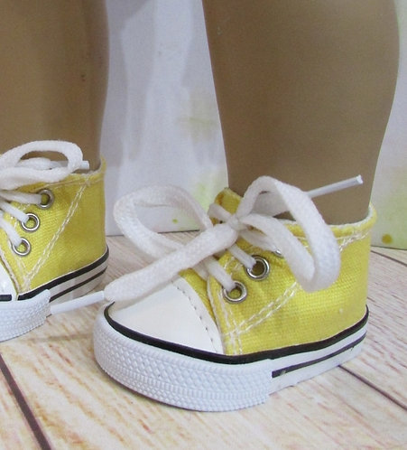 "Shoes for 18"" dolls: Yellow Trainers with white trim"