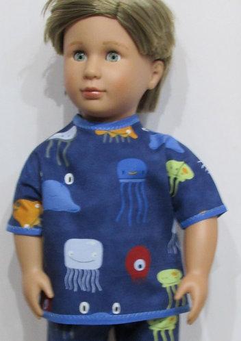 AG, OG Boy: Pyjamas, denim blue jellyfish, pjs