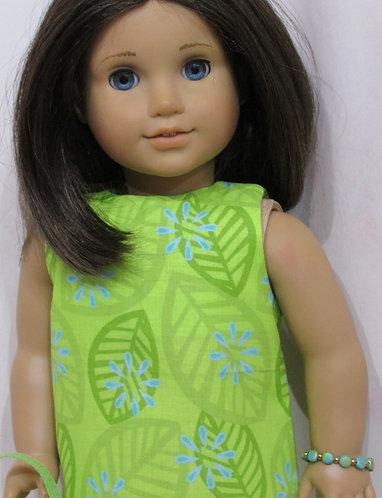 American Girl, Our Generation doll: Green Leaf Dress, bag, bracelet
