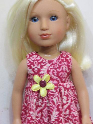 14.5 inch Glitter Girl or Wellie Wishers: Raspberry Pink Maxi Dress, bag