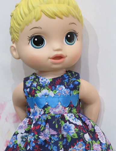 """12"""" Baby Alive doll: Midnight Flowers Dress, matching panties"""