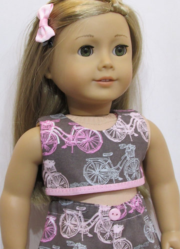 American Girl, Our Generation doll: Pink Bikes Beach Set