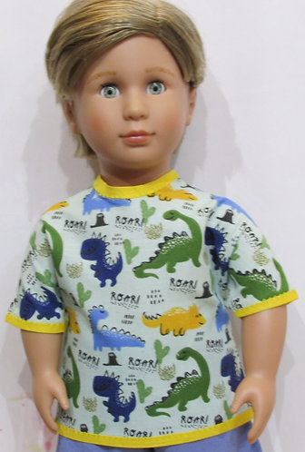AG, OG Boy: Blue, Yellow and Green Dinosaur Top, Blue Shorts