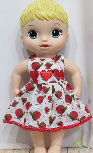 "12"" Baby Alive doll: Christmas Robins Dress, matching panties"