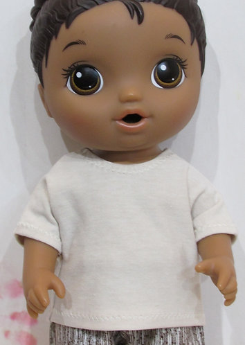 "12"" Baby Alive boy doll: Cream Top and Brown StripeTrousers"