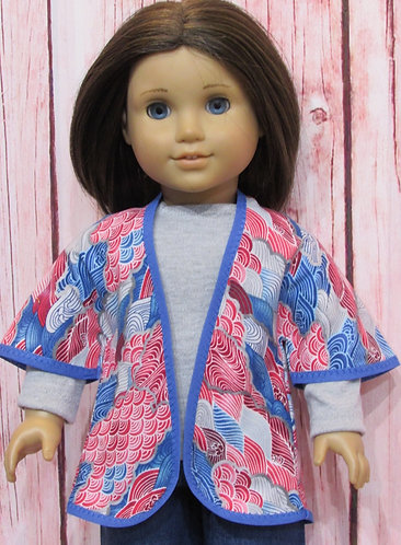 American Girl, Our Generation:  Wave Kimono Jacket, Blue Jeans, Grey Top