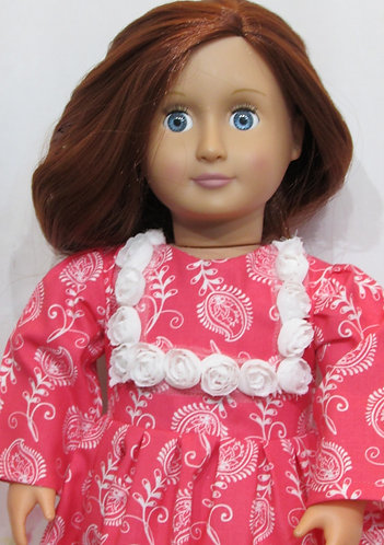 American Girl, Our Generation: Coral Red Paisley Rose Dress, bag