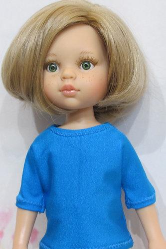 Paola Reina 32cm: Turquoise Blue Top, Bright Leggings