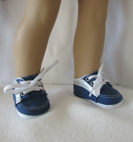 "Shoes for 18"" dolls: Blue Trainers with silver trim"