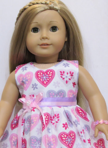 American Girl, Our Generation: Pink & Lavender Hearts Dress Set