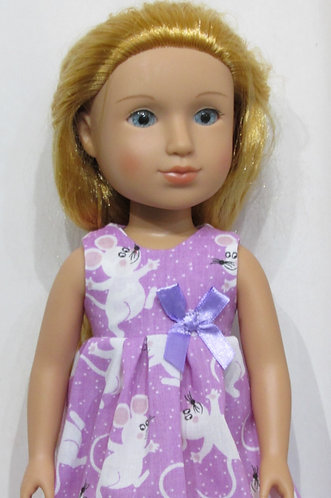 Glitter Girl, Wellie Wishers: Lavender & White Mice Nightie, nightwear