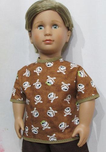 AG, OG Boy: Skull & Crossbones Pirate Top, Brown Shorts