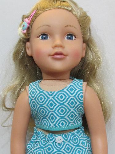 DesignaFriend, New Sindy doll: Turquoise Geometric Beach Set