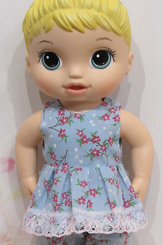 """12"""" Baby Alive doll: Blue with Blossoms Pyjamas, pjs"""