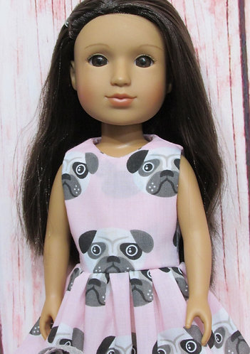 Glitter Girl or Wellie Wishers: Pale Pink Pugs Dress, bag