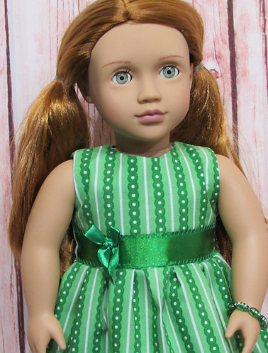 American Girl, Our Generation:  Green Spots Dress, bag, bracelet