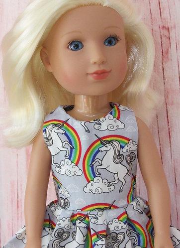 Glitter Girl or Wellie Wishers: Silver Rainbow Unicorns Dress, bag