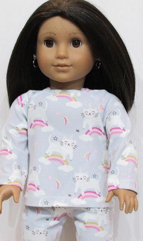 American Girl or Our Generation: Pyjamas, Unicorn Rainbow Cats pjs