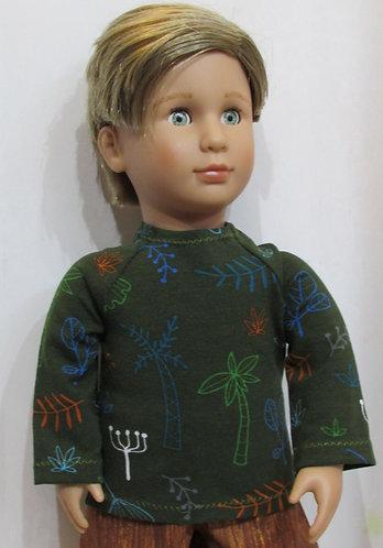 AG, OG Boy: Forest Green top, brown shorts
