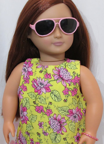 American Girl, Our Generation doll: Yellow Shift Dress, sunglasses, bag