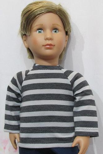 AG, OG Boy: Grey Stripe Top, Navy Trousers