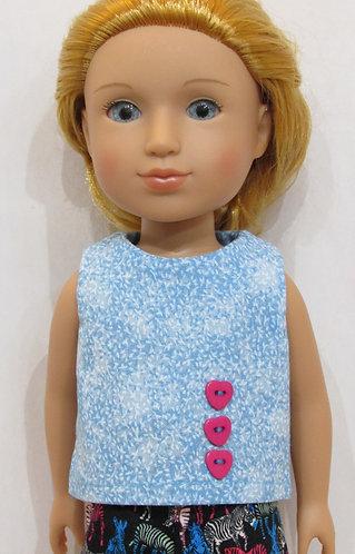 14.5 inch Glitter Girl or Wellie Wishers: Top, zebra shorts, bag